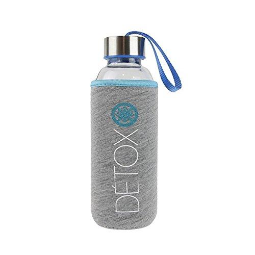 Botella de cristal 350ml y bolsa de protección, Azul