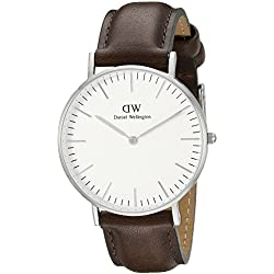 Daniel Wellington Bristol Silver Men's Quartz Watch with White Dial Analogue Display and Brown Leather Strap 0209DW