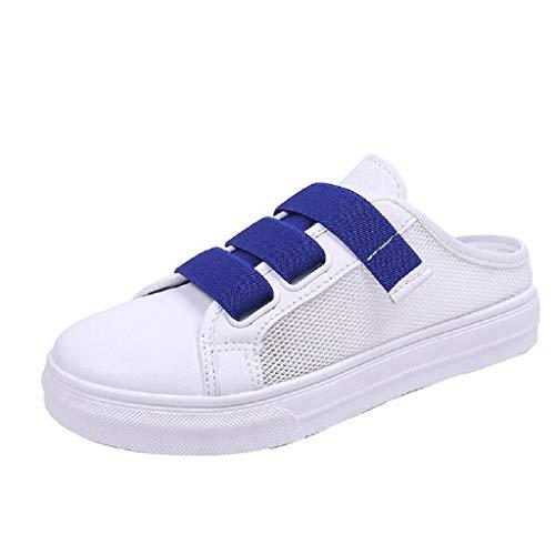 JURTEE Damen Große Größe Netz Tuch Atmungsaktive Kleine Weiße Schuhe Lässig Hausschuhe(40 EU~40.5 EU,Blau)