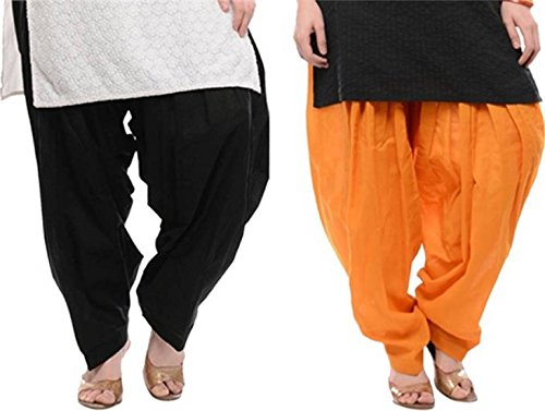 I Shop Traditional Patiala Salwar 100% Cotton Free Size (BLACK_ORANGE)