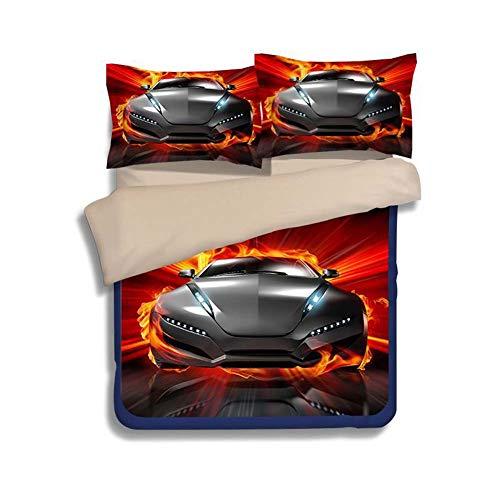 Rziioo Speed   Sport Car Bettwäsche-Set Teen Boys, Bettbezug-Set, 3-teilig 1 Bettbezug 2 Kissenbezüge (Keine Bettdecke im Inneren),B,UKSuperking -