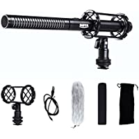 BOYA BY-PVM1000 Broadcast-Quality Interview Condenser Shotgun Microphone with Foam Windscreen & Shock Mount 3 Pin XLR Output for Canon 6D 5D3 Nikon D800 DSLR Camera Sony A9 Panasonic Camcorders
