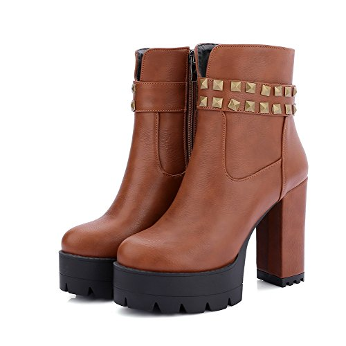 AgooLar Damen Eingelegt Hoher Absatz Reißverschluss Rund Zehe Stiefel mit Rivet Set Braun