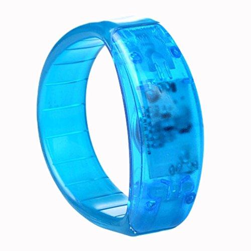 Prevently Voice Control LED Licht glüht Armbänder Armband Armband Party Konzert LED Stimmaktiviertes Licht Armband Konzert Requisiten Activated Sound LED blinkt Armband Armreif Armband Nacht (Blau)