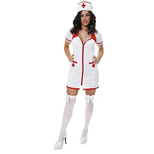 Damen Sexy Krankenschwester Arzt Beruf Halloween Kostüm Kleid Outfit UK 8-12 (Halloween Für Krankenschwester-outfit)