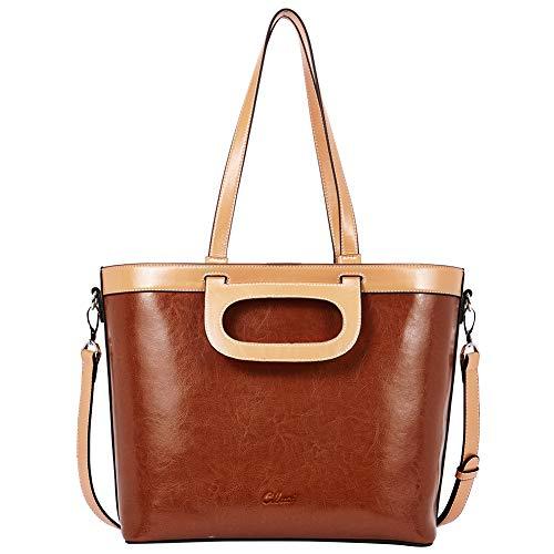 CLUCI Ölwachs Leder Handtaschen für Frauen Designer Tote Vintage Damen Henkeltasche 3 Möglichkeiten braun