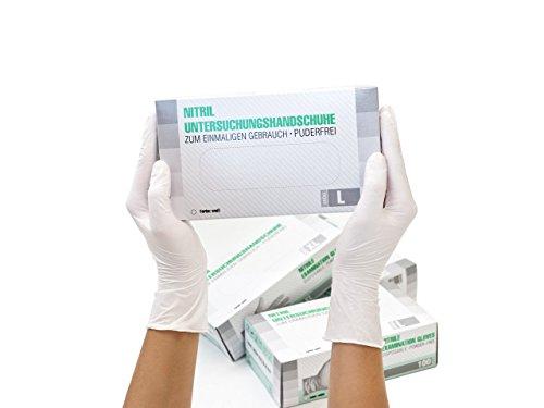 Nitrilhandschuhe 100 Stück Box (L, Weiß) Einweghandschuhe, Einmalhandschuhe, Untersuchungshandschuhe, Nitril Handschuhe, puderfrei, ohne Latex, unsteril, latexfrei, disposible gloves, white, Large