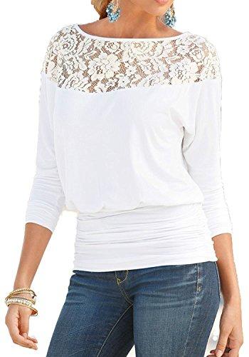 Jusfitsu Damen Loose Spitzen Shirts Langarm Tops Bluse Fledermaus Lace T Shirts Casual Oberteil Übergröße Weiß XXL