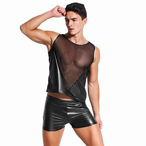 XSMG Sexy Unterwäsche Herren Lackleder Mesh Splice Schwarz Kurzarm Nachtclub Leistung (Pantalon Homme Kostüm)