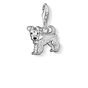 Thomas Sabo Damen-Charm-Anhänger Hund Charm Club 925 Sterling Silber schwarz 0841-007-12