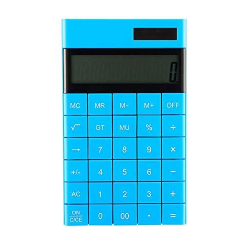 Finanz- & Wirtschaftsrechner Tragbare Solar Candy Color Taschenrechner Student Accounting Special Fashion Big Button 12-stelligen Bildschirm Rechner Wissenschaftliche Rechner (Color : Blue) (Big-bildschirm-rechner)