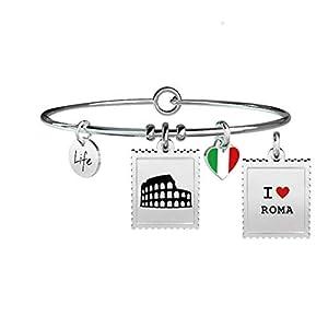 KIDULT - BRACCIALE IN ACCIAIO 316L CON SMALTO E CIONDOLO FRANCOBOLLO ROMA - COD 731236