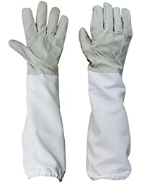1 Pair of Beekeeping Protective Gloves with Vented Long Sleeves--- Grey and White