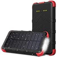 OUTXE Outdoor Powerbank Solar 10000mAh USB C IP67 Wasserdicht Akkupack Solar Ladegerät mit Taschenlampe
