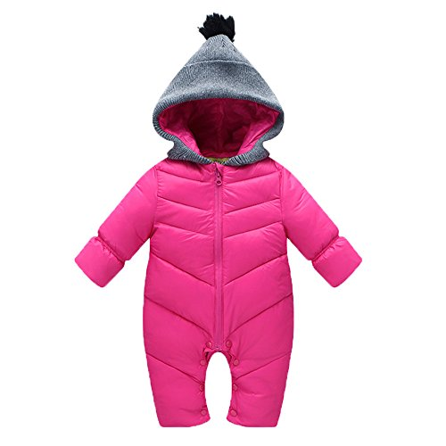BAINASIQI Unisexo Romper con Capucha de Santa Ropa Gruesa Traje de Invierno para 0-12 Bebé del Mes (XL, Rosa)