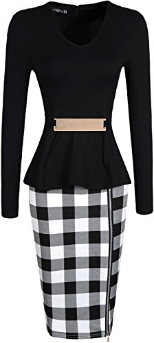 Jeansian Femme Sexy Parti Cocktail Temperament Fashion Casual Slim Travailler Crayon Robes WKD216 Black
