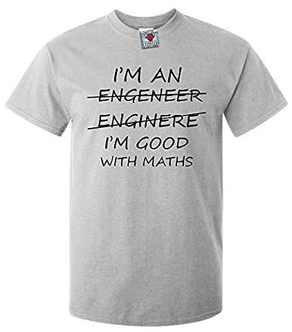 Bullshirt's Men's I'm An Engineer Good At Maths T-Shirt. (XL, Light Grey)
