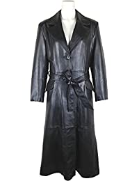 UNICORN Womens Classic Full Length Trench Coat Real Leather Jacket #AM