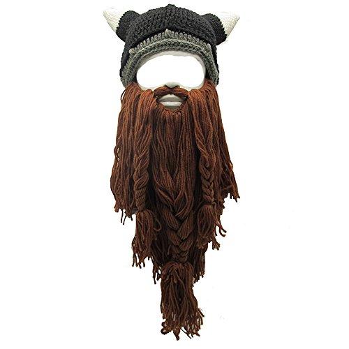 Metyou Perücke Bart Hüte Handgemachte Strick Warme Winter Caps Ski Lustige Maske Beanie (CNJ-brown)