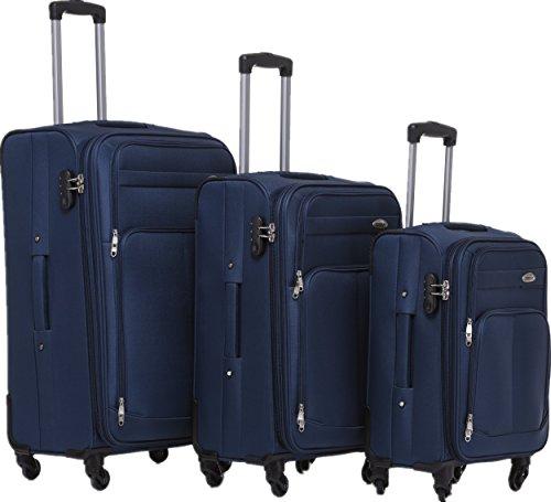 BEIBYE 4 Rollen Reisekoffer 3tlg.Stoffkoffer Gepäck Koffer Trolley Set-XL-L-M in 7 Farben (Blau, Set)