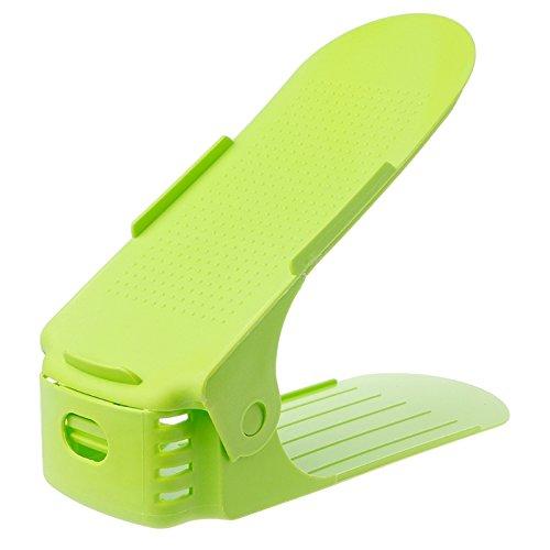 Kofun Scarpe Slot Organizer, 2 pacchi Scarpe Organizer Display Home Salvaspazio in plastica Portapacchi Doppio strato regolabile Scarpe Appendiabiti Blu Verde