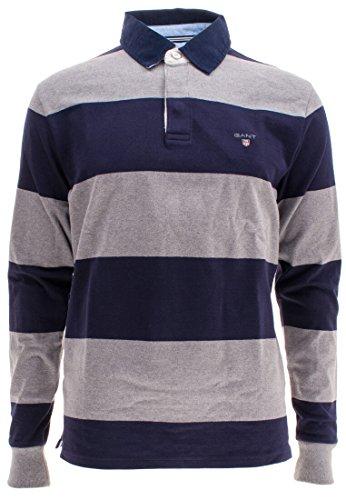 GANT Herren Sweatshirt The Original Barstripe Heavy Rugger Grau-Blau(93)