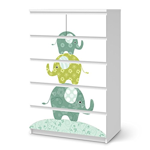 creatisto Möbeltattoo für Ikea Malm 6 Schubladen | Baby-Zimmer Möbeltattoo Klebefolie Sticker Aufkleber | Einrichtungsideen Ikea Möbel für Kinder Poster Kinderzimmer | Kids Elephants