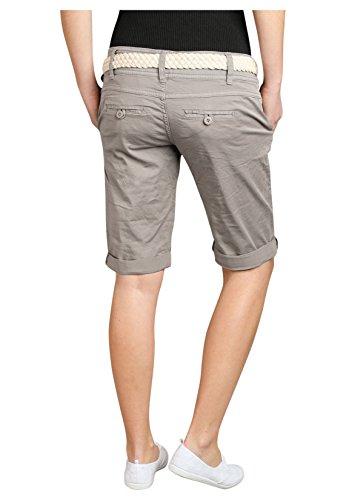 Fresh Made Bermuda femme couleur pastel avec ceinture tressée | Pantalon court élégant de style chino Beige