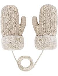 Guantes de punto cortos de felpa para niños pequeños con cuerda para invierno de 1 a 3 años