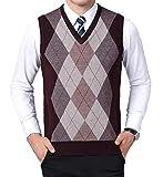 YinQ Herren West Ärmellose Pullunder Strickweste Argyle Feinstrick V-Ausschnitt Einfarbig Wollweste für Männer (X-Large, Wein)