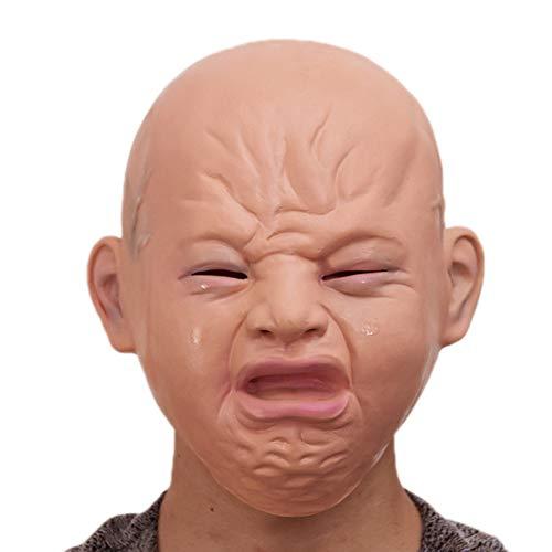 JASNO Deluxe Neuheit Halloween Kostüm Party Maskerade Latex Vollkopfbedeckung Crying Face Doll Maske