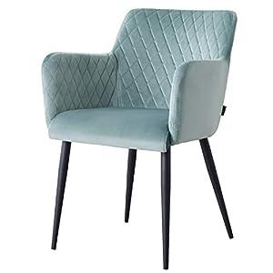 Damiware Rose Stuhl | Design Wohnzimmerstuhl Esszimmerstuhle Bürostuhl mit Samt Stoffbezug | Samt Grün