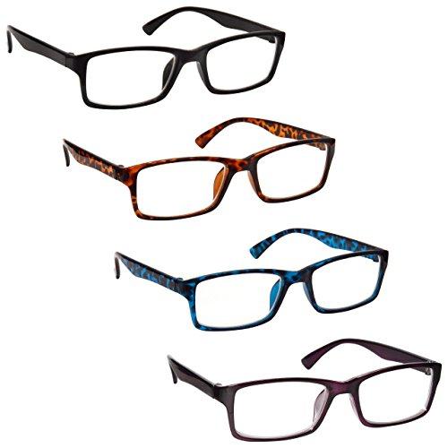 L'azienda occhiali da lettura nero marrone blu porpora lettori valore 4 pacco uomo donna uvr4092mix diottria +1,50