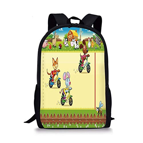 Qfunny Casual Rucksack Schultasche Kids Unisex 3D Print Canvas Backpack,Racing Mouse Cat and Dog on The Bike in Farm with Animal Comic Caricature Illustration Schoolbag Shoulder Bag Multicolor -