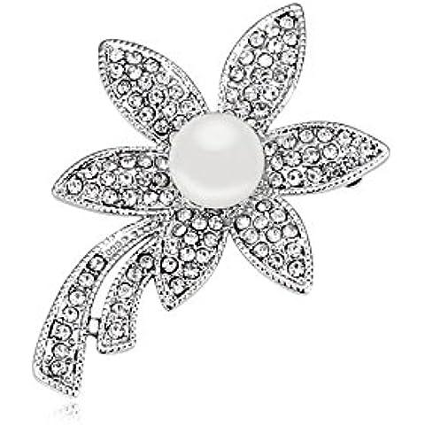 DEPOT TRESOR perno en forma de flor con perla y cristales de Swarovski, color perla Screw, color blanco