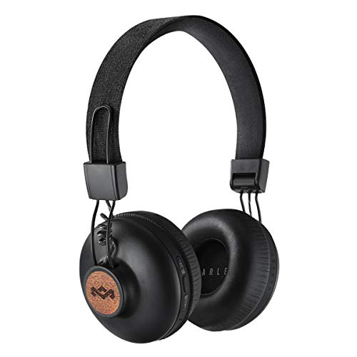 House of marley positive vibration 2, cuffie bluetooth wireless con microfono, diver da 40 mm, design confortevole on-ear, pieghevole, nero/legno, 1 pezzo