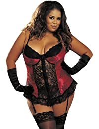 7f29221c896 Shirley of Hollywood Women s Plus-Size Tapestry Flowered Jacquard Long  Bustier