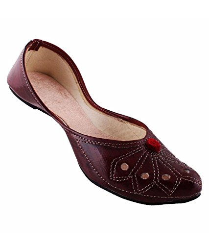 Red Choice Collection Synthetic Rajasthani Jaipuri Ethnic Burgundy Color Mojari-IND/UK-7(EU-40)  available at amazon for Rs.299