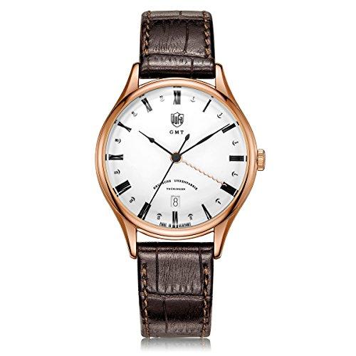 DuFa Unisex Analog Quarz Uhr mit Leder Armband DF-9006-04