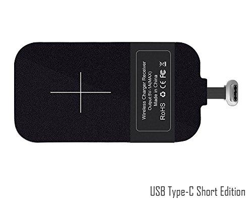 USB Type-C induktive Qi Lade-Empfänger [kurze] - ElecGear USB-C kabellose Ladegerät Aufladen Empfänger Modul Android Sony XZ1, Pixel, Huawei Nova, VIVO X7, LG G5, Nexus 5X - Weniger als 5,5-Zoll-Handy