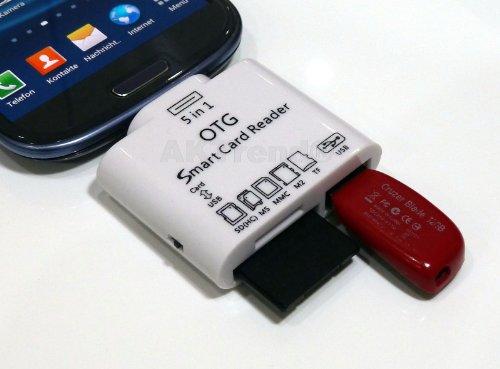 AKTrend® - 5 in 1 New Adapter Kamera / Camera Connection Kit Für Samsung Galaxy S3 GT-i9300 / GT-i9305 LTE , S4 GT-i9500 / GT-i9505 LTE , S4 Active GT-i9295, S4 Zoom C1010, Samsung Galaxy Tab 3 8.0 SM-T310 / 3G SM-T311 / LTE SM-T315 , Samsung Galaxy Tab 3 10.1 GT-P5200 / GT-P5210 / GT-P5220 LTE , Samsung Galaxy Mega 6.3 GT-i9200 / GT-i9205 , Samsung Galaxy Mega 5.8 GT-i9150 / GT-i9152 , Samsung Galaxy Note GT-N7000 / GT-I9220 , Samsung Galaxy Note 2 GT-N7100 / GT-N7105 LTE , SD (SDHC), TF, M2, MS, MMC 5in1 Kartenleser Adapter - Überträgt Bilder und Videos - USB Anschluß für Card Reader, Kameras oder Tastatur , Kartenleser Für viele USB-Geräte wie: Speichersticks / USB-Kabel / Maus / Tastatur / Flash-Disk & etc. , Support SD, SD (HC), MS, MMC, M2, TF & USB-Flash.
