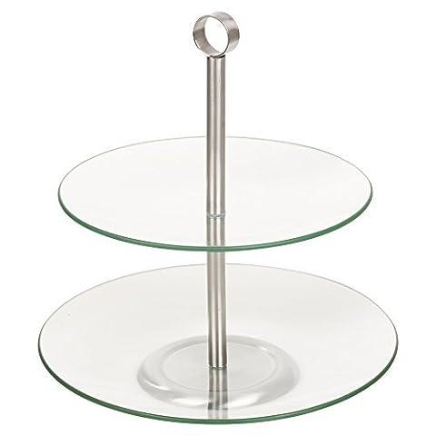 Etagère, Glas, Servier-Etagère, Kuchenständer, 2 Tier Round