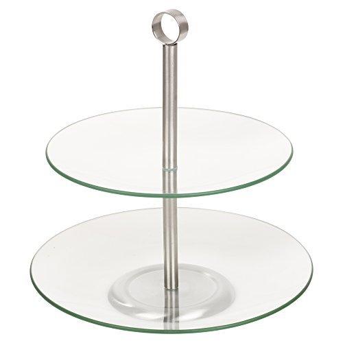 Glas, die Speisen Servieren Display Kuchen Ständer, 2 Tier Round Metal Plate Rack