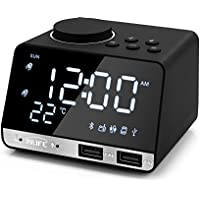 Despertador de Radio 4.2 Pulgadas InLife Reloj de Alarma Digital Función de Altavoz Bluetooth con Alarma Doble 2 Puertos USB Tarjeta AUX TF Disco U Pantalla ...
