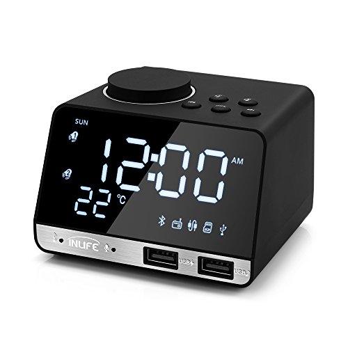 InLife Radiowecker Lautsprecher K11 mit Bluetooth 4.2, 2 USB-Ausgangsschnittstellen und 4 Zoll LCD-Bildschirm