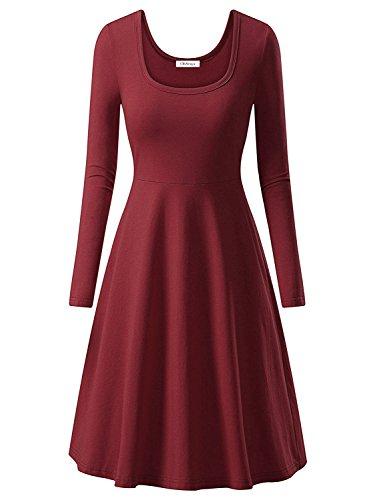 OhSeaya Damen Einfache Beiläufiges Langarm Basic Kleider Falten Stretch Freizeitkleid Knielang BKS557-WRXL