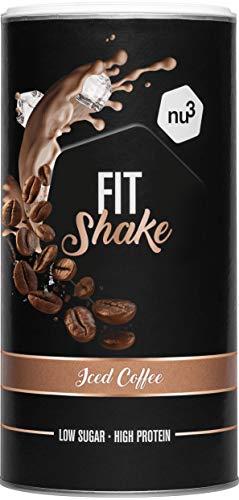 nu3 Fit Shake Iced Coffee – 450g Pulver – intelligente Shaping-Formel mit Kollagen – über 70% Protein für aktiven Muskelaufbau – nur 1g Zucker pro Portion – Eis-Kaffee Geschmack mit 4 g BCAA pro Drink