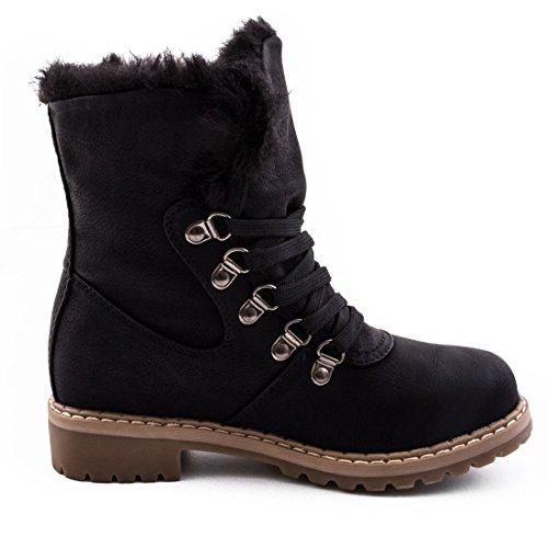 Damen Winter Schnür Boots Schuhe Stiefel mit Kunstfell in Lederoptik warm  gefüttert Schwarz Milan