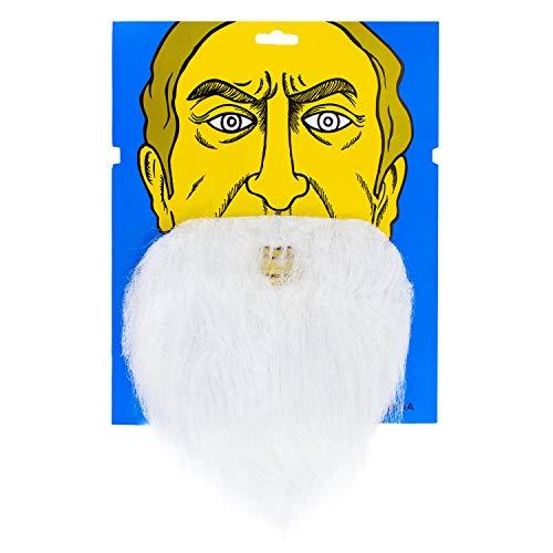 scher unechter Bart für Fasching Karneval Party Weihnachtsmann Elf Alter Mann Kostüm mit Gummiband Vollbart Weiß ()