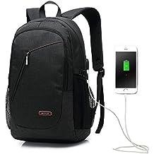 """15,6"""" Zaini del computer portatile con porta USB di ricarica antifurto, nero leggero sacco resistente all'acqua borsa casuale per scuola, lavoro, viaggi"""
